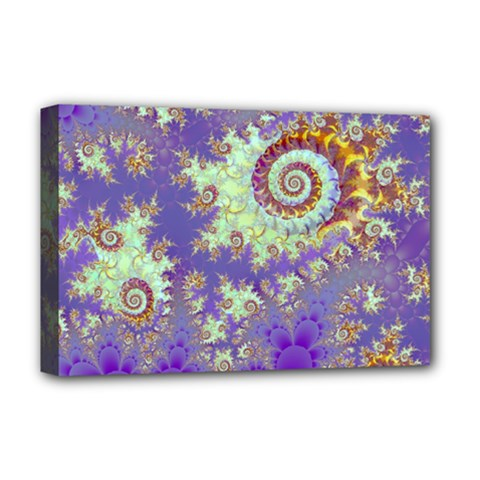 Sea Shell Spiral, Abstract Violet Cyan Stars Deluxe Canvas 18  X 12  (framed)