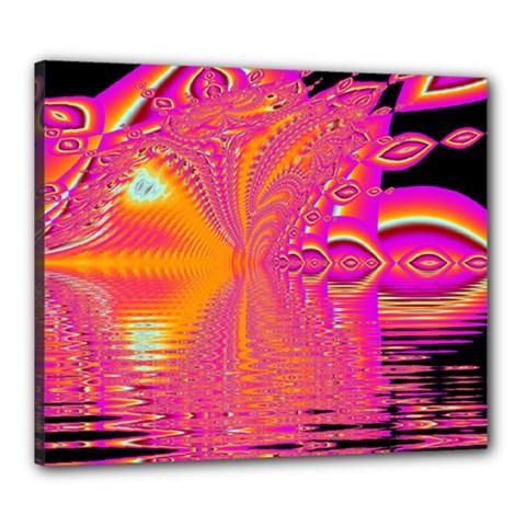 Magenta Boardwalk Carnival, Abstract Ocean Shimmer Canvas 24  X 20  (framed)