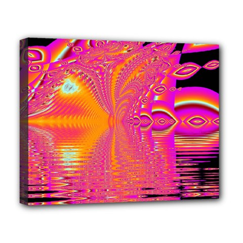 Magenta Boardwalk Carnival, Abstract Ocean Shimmer Deluxe Canvas 20  X 16  (framed)