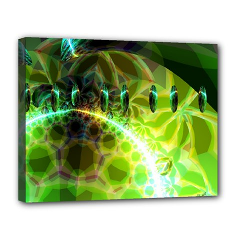 Dawn Of Time, Abstract Lime & Gold Emerge Canvas 14  x 11  (Framed)