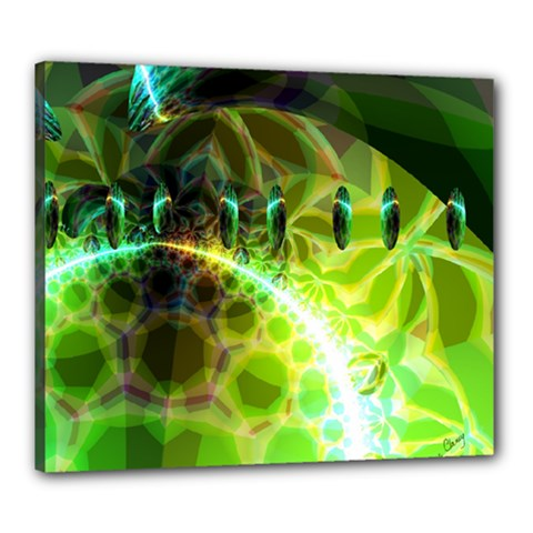 Dawn Of Time, Abstract Lime & Gold Emerge Canvas 24  x 20  (Framed)
