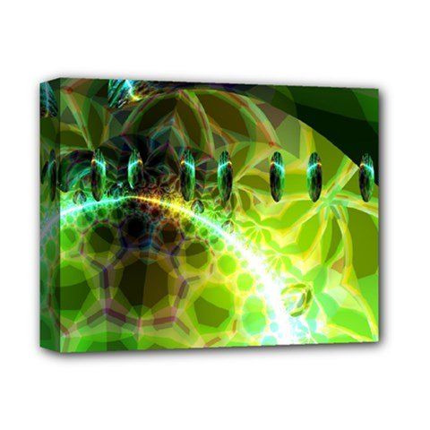 Dawn Of Time, Abstract Lime & Gold Emerge Deluxe Canvas 14  X 11  (framed)