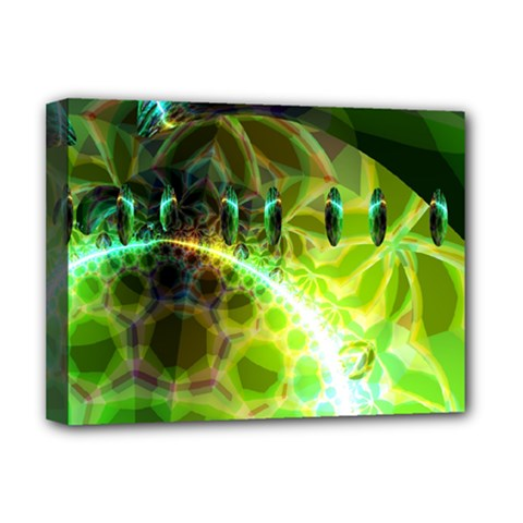 Dawn Of Time, Abstract Lime & Gold Emerge Deluxe Canvas 16  x 12  (Framed)