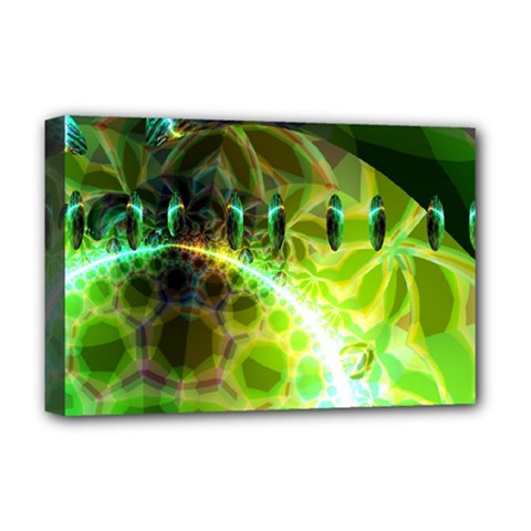 Dawn Of Time, Abstract Lime & Gold Emerge Deluxe Canvas 18  x 12  (Framed)