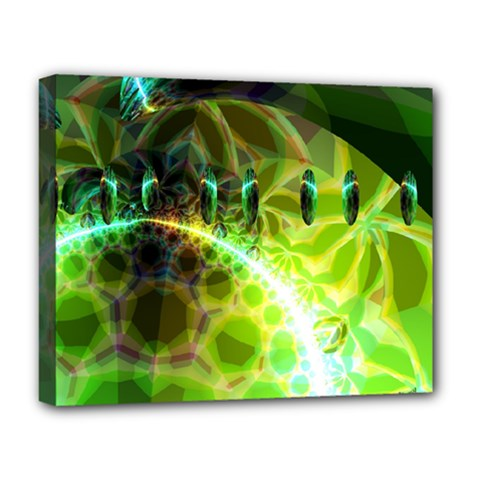 Dawn Of Time, Abstract Lime & Gold Emerge Deluxe Canvas 20  x 16  (Framed)