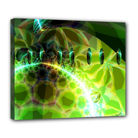 Dawn Of Time, Abstract Lime & Gold Emerge Deluxe Canvas 24  x 20  (Framed)