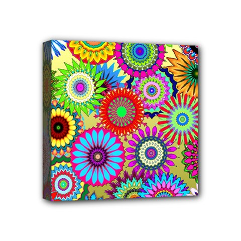 Psychedelic Flowers Mini Canvas 4  x 4  (Framed)