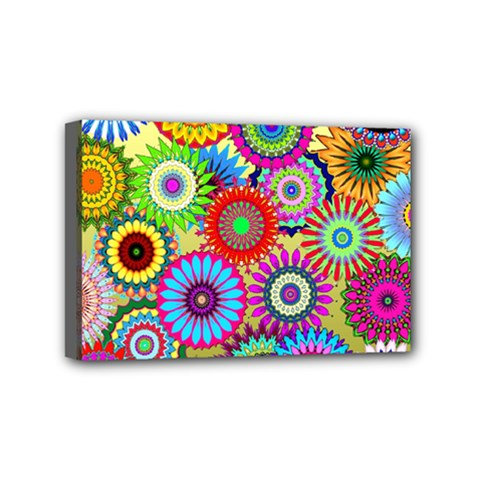 Psychedelic Flowers Mini Canvas 6  x 4  (Framed)