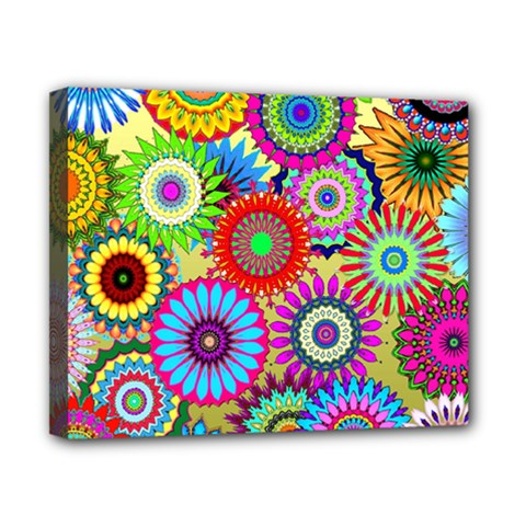 Psychedelic Flowers Canvas 10  X 8  (framed)