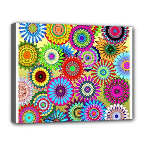 Psychedelic Flowers Canvas 14  x 11  (Framed)