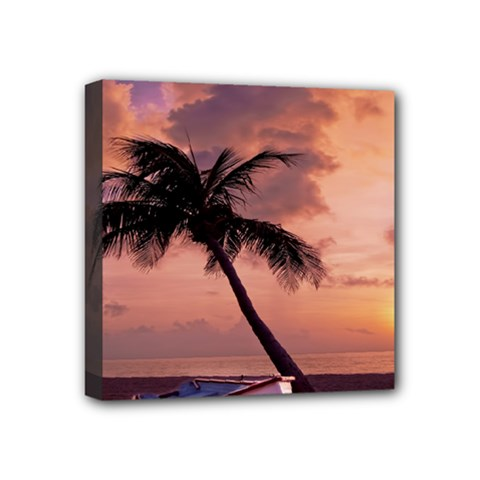 Sunset At The Beach Mini Canvas 4  X 4  (framed)