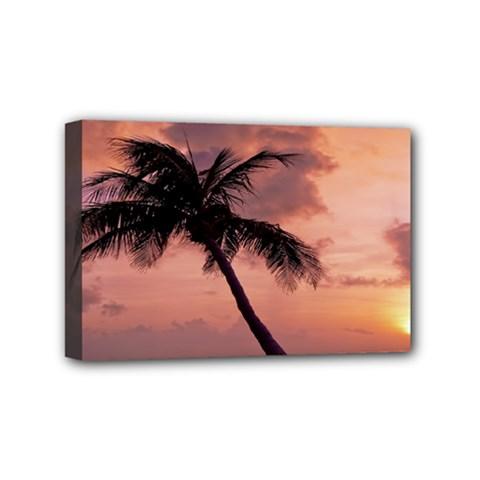 Sunset At The Beach Mini Canvas 6  X 4  (framed)