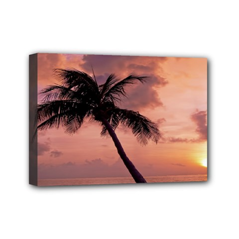 Sunset At The Beach Mini Canvas 7  X 5  (framed)