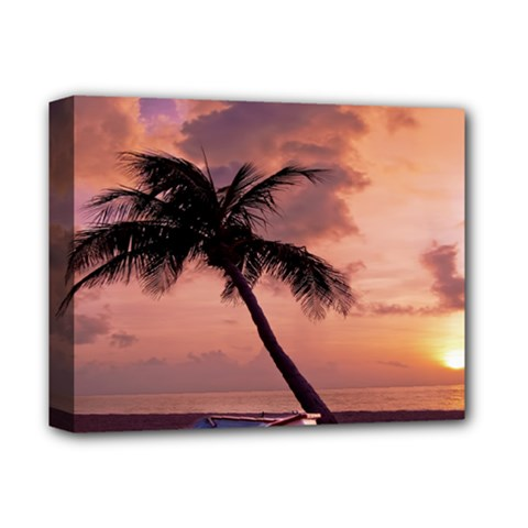 Sunset At The Beach Deluxe Canvas 14  x 11  (Framed)