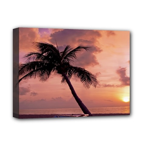 Sunset At The Beach Deluxe Canvas 16  X 12  (framed)