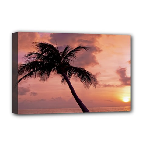 Sunset At The Beach Deluxe Canvas 18  X 12  (framed)