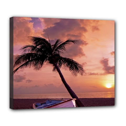 Sunset At The Beach Deluxe Canvas 24  x 20  (Framed)