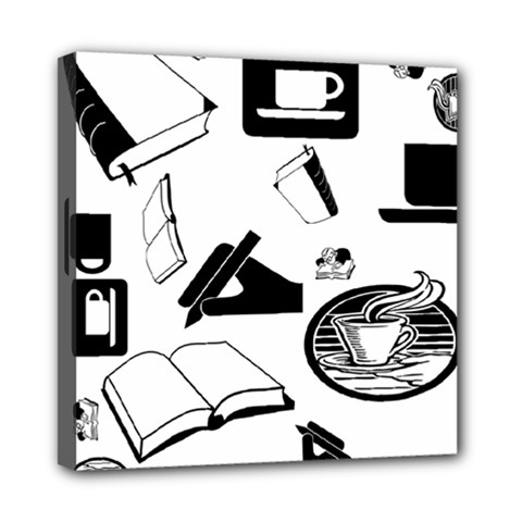Books And Coffee Mini Canvas 8  X 8  (framed)