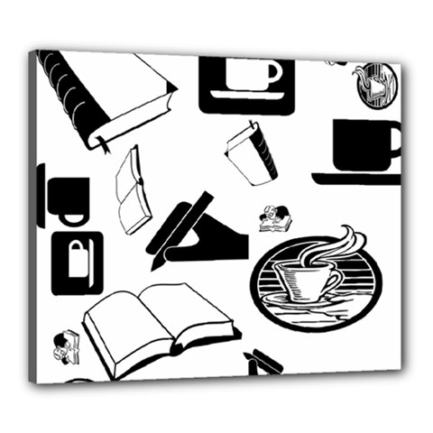 Books And Coffee Canvas 24  X 20  (framed)