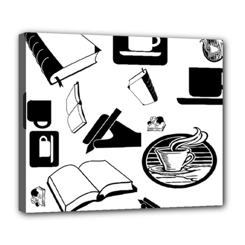 Books And Coffee Deluxe Canvas 24  x 20  (Framed)