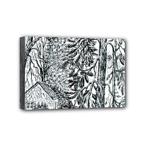 Castle Yard in Winter  by Ave Hurley of ArtRevu ~ Mini Canvas 6  x 4  (Stretched)