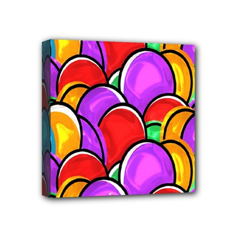 Colored Easter Eggs Mini Canvas 4  X 4  (framed)