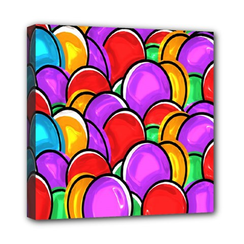 Colored Easter Eggs Mini Canvas 8  x 8  (Framed)