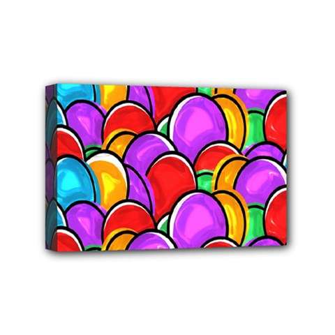 Colored Easter Eggs Mini Canvas 6  x 4  (Framed)