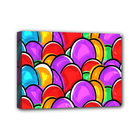 Colored Easter Eggs Mini Canvas 7  x 5  (Framed)