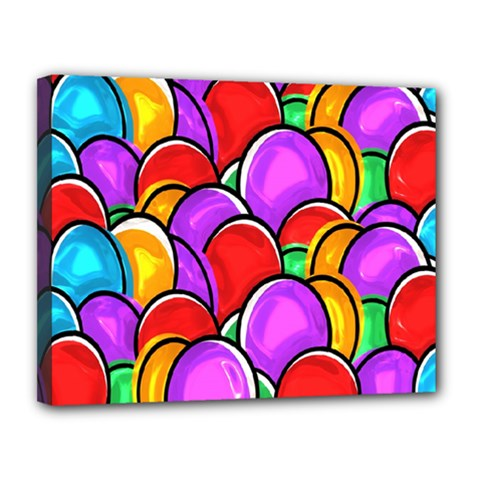 Colored Easter Eggs Canvas 14  X 11  (framed)