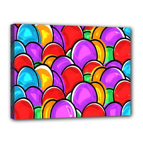 Colored Easter Eggs Canvas 16  x 12  (Framed)