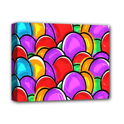 Colored Easter Eggs Deluxe Canvas 14  x 11  (Framed)