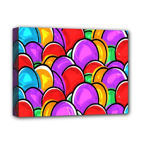 Colored Easter Eggs Deluxe Canvas 16  x 12  (Framed)