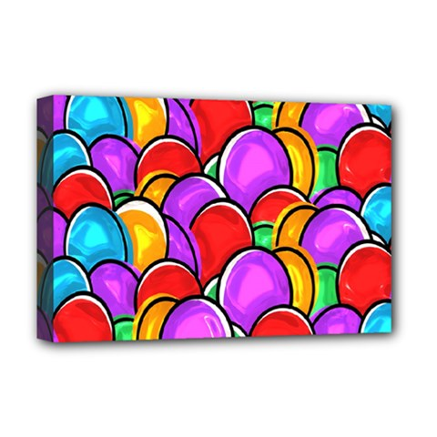 Colored Easter Eggs Deluxe Canvas 18  X 12  (framed)