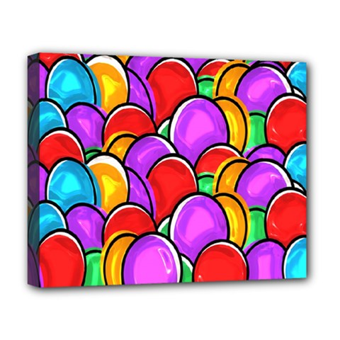 Colored Easter Eggs Deluxe Canvas 20  X 16  (framed)
