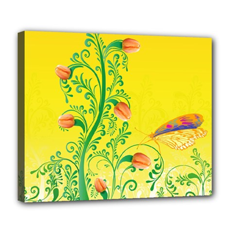 Whimsical Tulips Deluxe Canvas 24  x 20  (Framed)