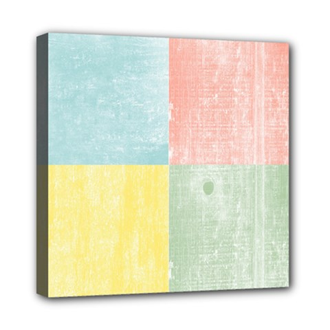 Pastel Textured Squares Mini Canvas 8  x 8  (Framed)