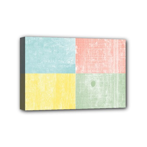 Pastel Textured Squares Mini Canvas 6  x 4  (Framed)