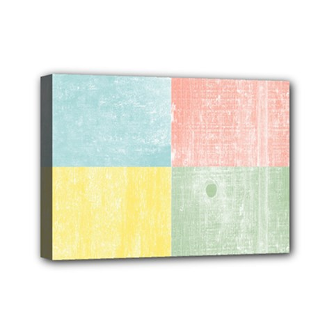 Pastel Textured Squares Mini Canvas 7  X 5  (framed)
