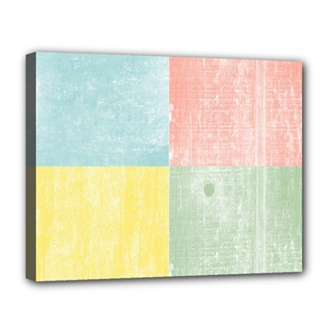 Pastel Textured Squares Canvas 14  x 11  (Framed)