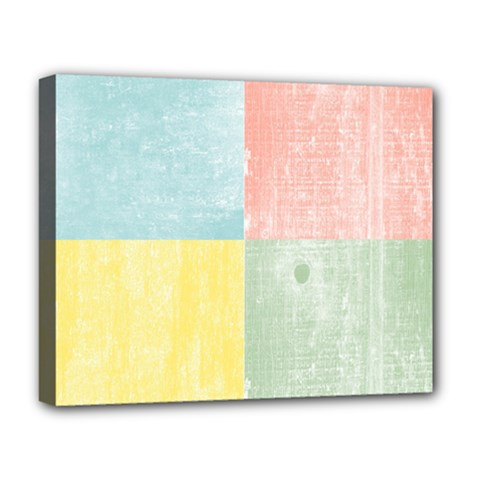Pastel Textured Squares Deluxe Canvas 20  X 16  (framed)