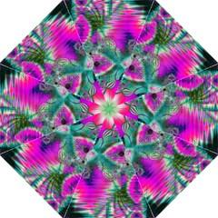 Crystal Flower Garden, Abstract Teal Violet Hook Handle Umbrella (Large)