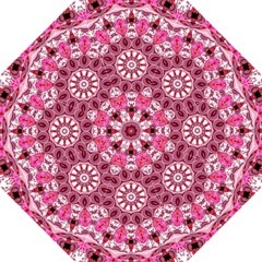 Twirling Pink, Abstract Candy Lace Jewels Mandala  Hook Handle Umbrella (Large)