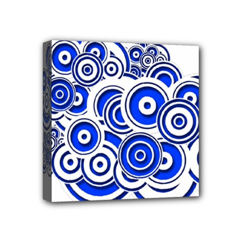 Trippy Blue Swirls Mini Canvas 4  X 4  (framed)