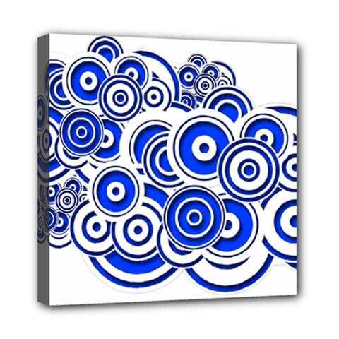 Trippy Blue Swirls Mini Canvas 8  x 8  (Framed)