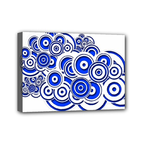 Trippy Blue Swirls Mini Canvas 7  X 5  (framed)