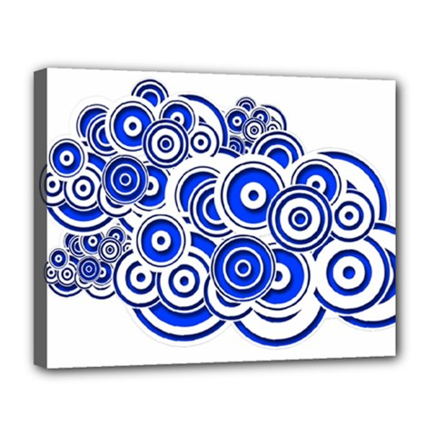 Trippy Blue Swirls Canvas 14  x 11  (Framed)