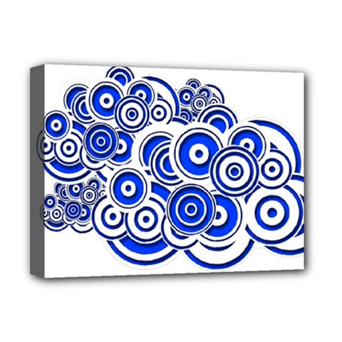 Trippy Blue Swirls Deluxe Canvas 16  X 12  (framed)
