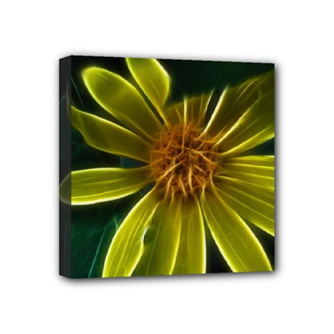 Yellow Wildflower Abstract Mini Canvas 4  x 4  (Framed)