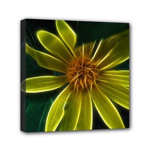 Yellow Wildflower Abstract Mini Canvas 6  X 6  (framed)